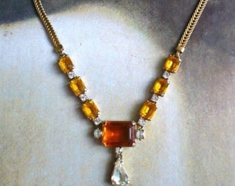 1940s Art Deco Style Faceted Glass Necklace