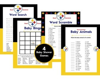 Printable 4 Baby Shower Games Pittsburgh Steelers Black White Gold Football Themed Downloadable file