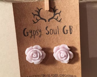 Flower earrings, rose earrings, grey earrings, grey flower, christmas present, stocking filler, gift for girls,