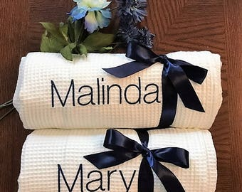 Monogrammed Set of Five Bath Wraps, Spa Wrap, Towel Wrap, Waffle Towel Wrap, Monogram Towel Wrap