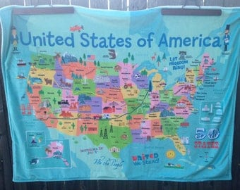 Us map blanket etsy usa map baby blanket united states of america map double minky baby blankie gumiabroncs Images