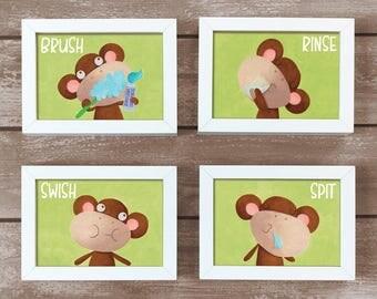 Kids Wall Art / Monkey / Monkey Bathroom Art / Brush Your Teeth Set /  Personalized