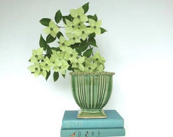 Vintage Green Urn Planter, Arts and Crafts Style, Farmhouse Decor