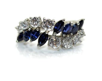 Ring ears sapphires and diamonds, circa 1960