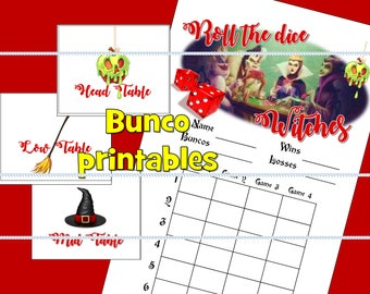Witches Bunco printable. Score card, Mid, High and Low table signs. Instant download printables PDF Halloween buncoween disney roll the dice