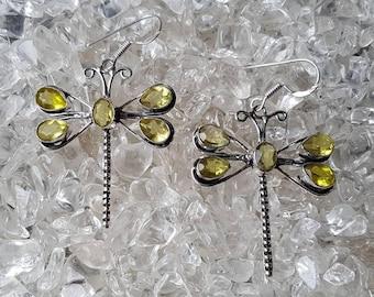 Citrine Dragonfly Dangle Earrings
