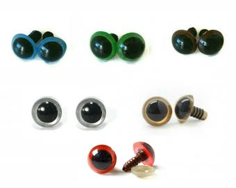 Eyes - Blue, Brown, Green, Gold, Red, Yellow and Transparent Safety Eyes (8mm, 10mm, 12mm, 14mm) (2 pairs) (3 pairs) (5 pairs)