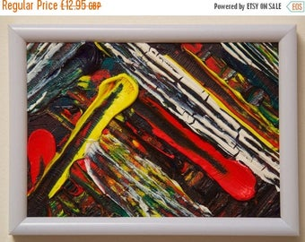 "40% OFF SALE!... MARLEY: Framed Abstract Oil and Acrylic Painting. 5""x7"" (12x17cm) Original Handmade Item."