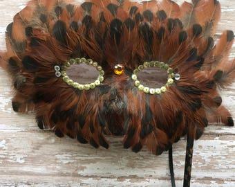 Handmade feather mask, masquered, ball mask, mardi gras, costume mask, mask, feather mask
