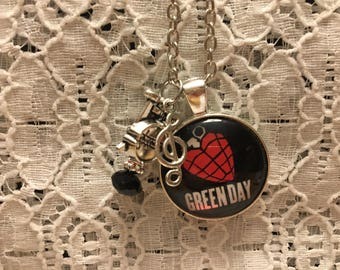 Green Day Charm Necklace/Green Day/Green Day Pendant/Green Day Necklace/Green Day Jewelry