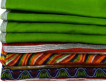 Vintage Solid Print Green Dupatta Long Stole Pure Cotton Used Wrap Hijab Veil VDP32414