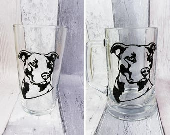 Pit bull glass tankard, Hand painted conical pint glass, Staffordshire Bull Terrier, Choice of glass, Birthday gift for him, Christmas gift