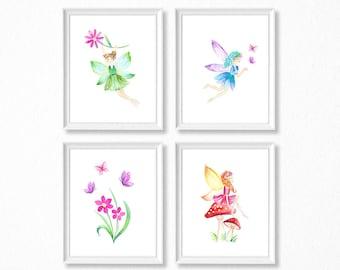 Watercolor Fairy Nursery Art, Printed Watercolor Fairies, Fairies and Flowers Watercolor Prints, PRINTED, Toadstool, Butterfly