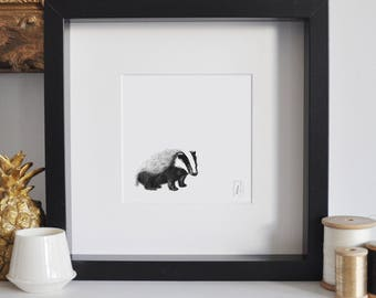 Framed Badger Print