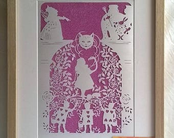 Alice Paint The Roses Red, Fairy Tale, Papercut, Wall-Decor, Handmade, Artwork, Forever Keepsake, Paper, Silhouette.