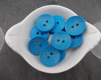 Blue bow design wood button