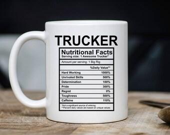Trucker Nutritional Facts Mug - Funny Trucker Coffee Mug - Xmas Present For Him Or Her - Trucker Gift - 11oz 15oz Novelty Christmas Gift Mug