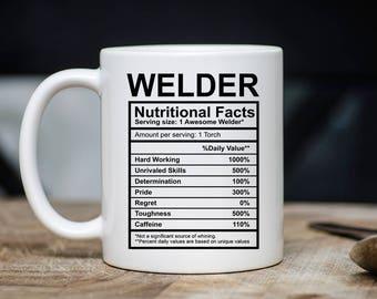 Welder Nutritional Facts Mug - Welder Xmas Present For Him Or Her - Funny Welder Coffee Mug - 11oz 15oz Novelty Christmas Bday Gift Mug