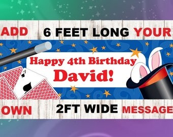 Magic Banner, Magic Happy Birthday Banner, Magician, Magic Show, Magic Birthday,It's Like Magic, Happy Birthday, Banner, Magic Trick