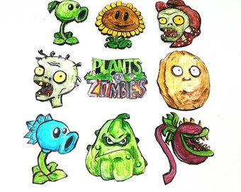 140 Plants vs Zombies Edible toppers cupcakes 9 psc handmade