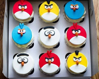 Angry Birds cupcake toppers fondant Edible cupcakes 9 psc handmade