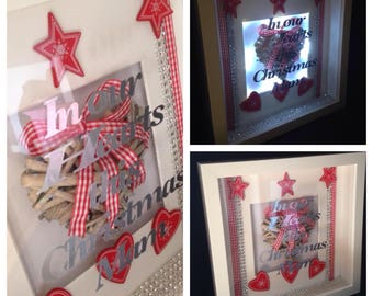 Personalised Christmas 3d light box frame always in our hearts