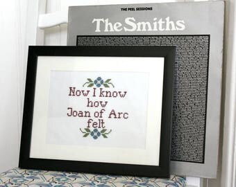 The Smiths Modern cross stitch Finished contemporary embroidery framed lyrics wall art decoration - lyrics can be personalised wedding gift