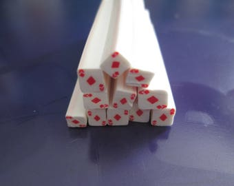 card fimo cane as 5x50mm tiles