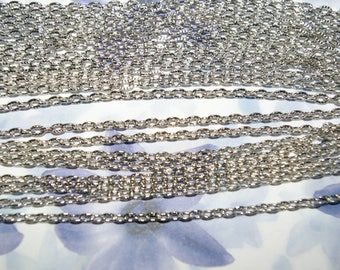10 meters of open mesh 4.5x3 mm matte silver chain