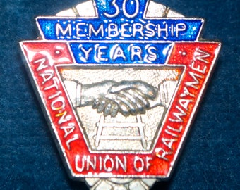 Vintage 1979 Sterling Silver Enamel 30yr National Union Railwaymen Member Badge