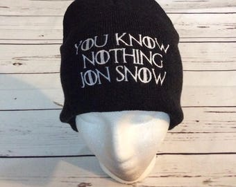 GOT Game of Thrones Jon Snow I Drink and I know things / You know nothing Jon Snow Beanie Winter Ski Hat Cap