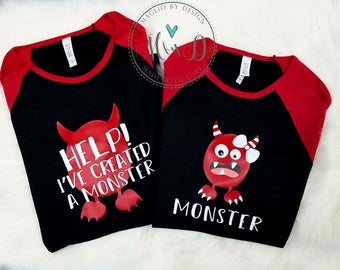 Help I've created a monster Monster tees! Mommy & Me set\ Daddy and Son set Green Monster