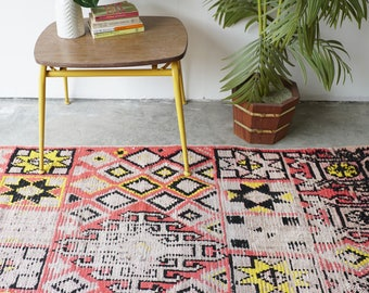 Pink and Yellow Vintage Moroccan Rug