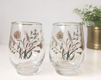 Vintage Mid Century Gold Rimmed Glasses + Set of 2 + Libbey with Gold Wheat, Dandelion and Stems + Drinking Lowball Cocktail Stemless Wine