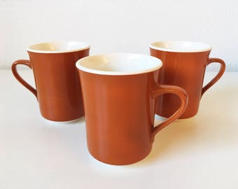 Vintage Mid Century Orange Syralite Coffee Cups + Set of 3 + 3-1 Syracuse China + Atomic Burnt Orange + Made in USA + Retro Diner Mugs