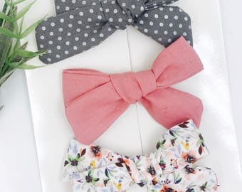 Baby Girl hand tied Bow set  - Nylon Headbands - Hair clip - Infant / Toddler /  Fabric Hair Bows / Clips - charcoal - blush autumn berry