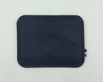 Round leather grained Navy blue card