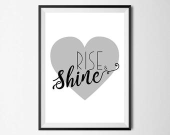 Rise & Shine Wall Print - Wall Art, Home Decor, Bedroom Print, Nursery Print