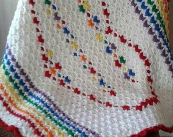 Reversible Ripple Rainbow Baby Blanket