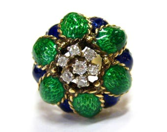 18K Enamel & Diamond Ring - 4505