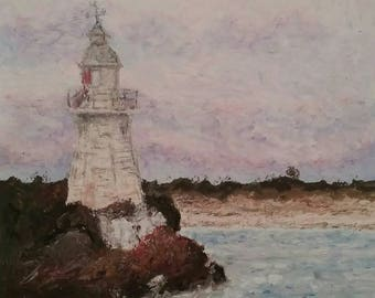Historic Lighthouse Painting, Hells Gates, Strahan, Tasmania, Original Art A4, Oil Pastel, Wall Art, Impressionist art, Australian artist
