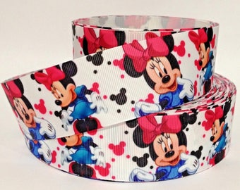 """GROSGRAIN RIBBON 1.5"""" Minnie Mouse M2 Printed  By the Yard"""