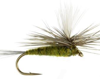 Fishing Flies - 4 Blue Winged Olive Parachute Flies - Sizes 14, 16, 18, 20