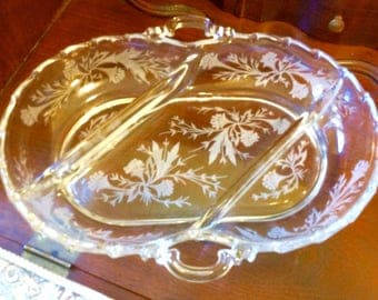 Crystal Glass Sectioned Condiment or Candy Dish with Floral Design, Condiment Serving Dish, Vintage Crystal Dishes, Crystal Serving Trays,