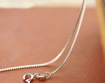 """Box Chain Collar Necklace 925 Sterling Silver 16"""" / 18"""""""