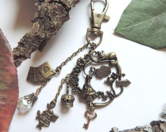 "Bag jewel bronze ""Alice"": Golden key, rabbit, cards, Crown, Czech glass bead"