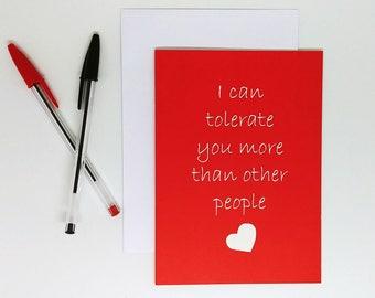 Funny birthday Card boyfriend/ girlfriend, funny anniversary card, birthday card, sarcastic card husband/ wife,