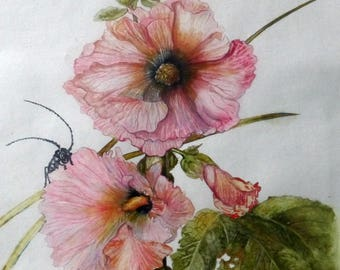 Original art painting contemporary table Deco flowers, flowers, botanical watercolor painting
