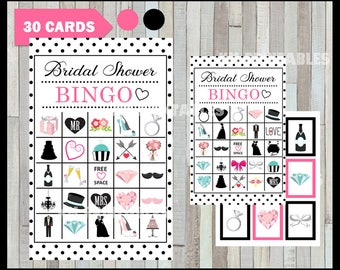 50 % off SALE Bridal Shower Bingo Game - Printable - 30 different Cards - Party Game Printable - Half Page Size - INSTANT DOWNLOAD