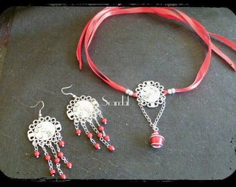 Red Ribbon necklace, Pearl and prints, and her curls